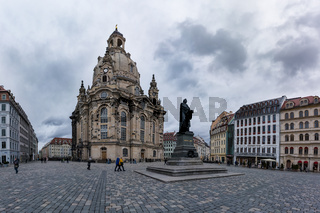 Dresden Frauenkirche Exterior City Landscape Square Marktplatz Center Architecture Beautiful Religious Monument