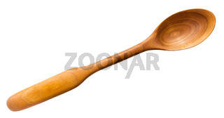 top view of carved wooden spoon from cherry tree