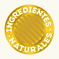 Natural ingredients seal in spanish. Gold gradients.