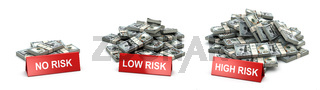 Investment and level of risk concept. Heaps of  packs of dollars and  no risk low and hogh risk signs