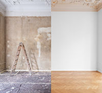 home renovation, room before and after restoration /  refurbishment  -