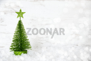 Green Christmas Tree, Star, Snow, Copy Space