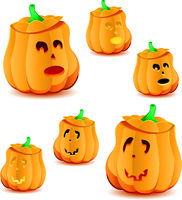 Set of halloween pumpkins with variations of illumination, part 21