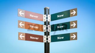 Street Sign Now versus Never