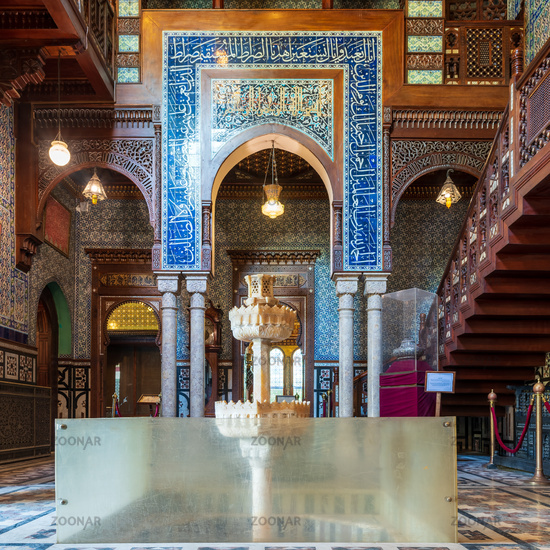 Manial Palace of Prince Mohammed Ali. Residence building with Turkish floral blue pattern ceramic tiles, Cairo, Egypt