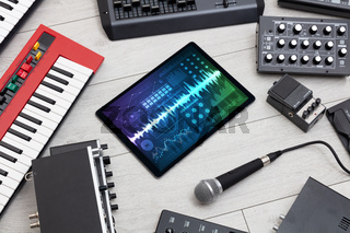 Music instruments and tablet with recording app