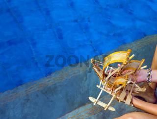 Ceylon pool beach sail fishing boat