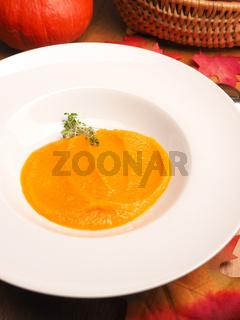 Tasty organic pumpkin soup