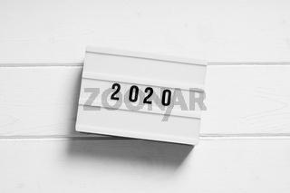 year 2020 on light box sign