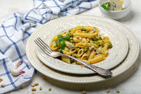 Delicious pasta with green peas and blue cheese.