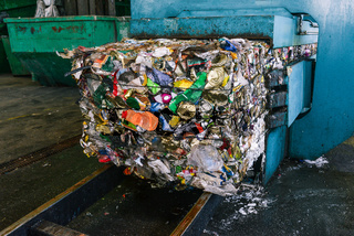 Recycling and sorting of household waste at the plant. Pressed trash for further processing. Recycling and storage of waste. Recycling and waste sorting