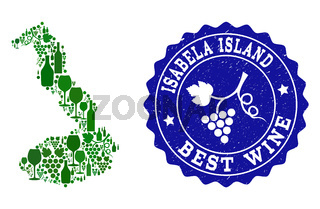 Collage of Grape Wine Map of Galapagos - Isabela Island and Best Wine Grunge Watermark