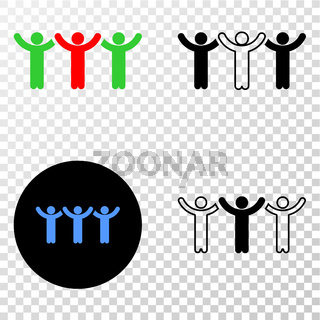 Dancing People Vector EPS Icon with Contour Version