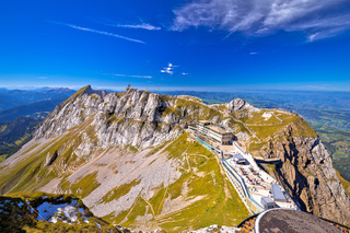 Pilatus Kulm mountain peak and surrounding alpine peaks view