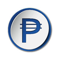 Philippine peso currency symbol on round sticker with blue backdrop