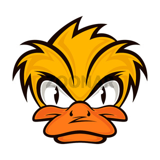 Cartoon evil face duck on the grey background.