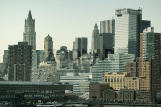 New York Skyline. Close Up Of Buildings In Downtown Manhattan, NY