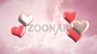 Closeup romantic heart on Valentines day shiny background
