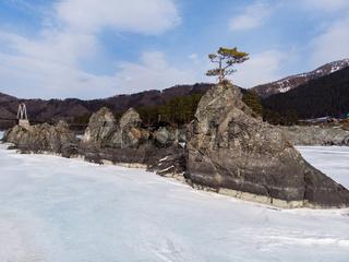Fast mountain river Katun at winter