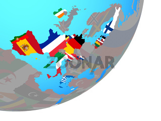 Map of Eurozone member states with flag on globe