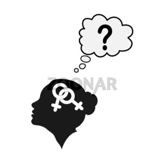 Profile of a female head with the symbol of bigender and a question mark