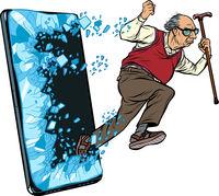 old man retired grandfather Phone gadget smartphone. Online Internet application service program