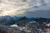 Panoramic view of Hohenschwangau Castle and Alpsee in Schwangau
