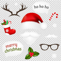 Vintage Christmas Set Transparent Background