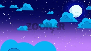Cartoon background with motion clouds and moon, abstract backdrop