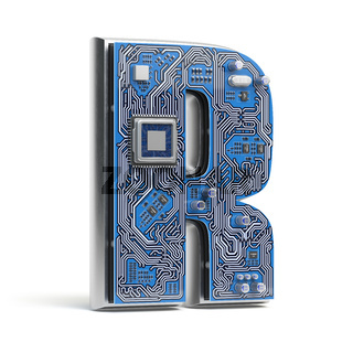 Letter R.  Alphabet in circuit board style. Digital hi-tech letter isolated on white.