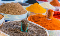 Spices and dried food products sold at the Chorsu Bazaar in Tashkent
