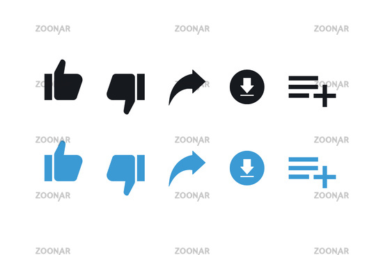 Set of social media isolated icons thumbs up and down share download in trendy flat style.