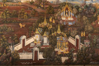 White palaces in Wat Phra Kaew mural
