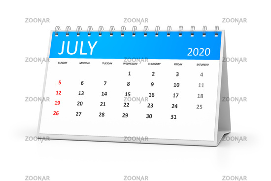 table calendar 2020 july