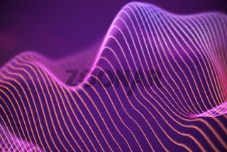 3D Sound waves. Big data abstract visualization.