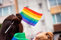 Photo of a girl with braided lgbt flag in her hair