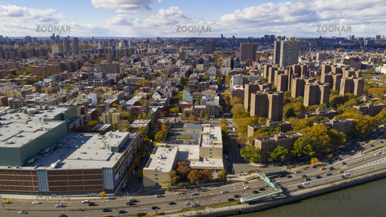 Bright Sunny Day over Housing Authority Buildings in Harlem New York