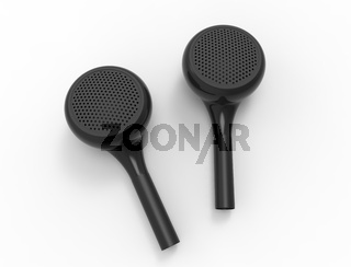 3D rendering of wireless bluetooth ear phones isolated in white background.