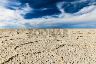 Low perspective view of the salt flats in Salar de Uyuni
