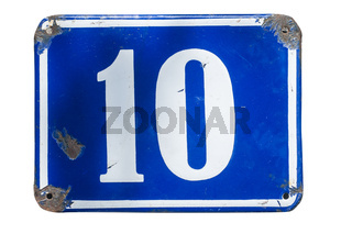 Weathered enameled plate number 10