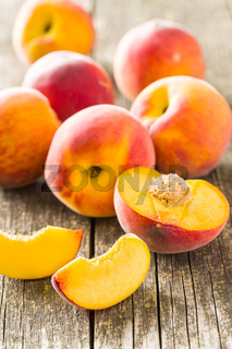 Sweet peaches fruit.