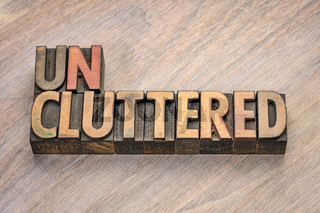 uncluttered word in wood type