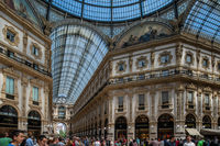 Milan, Italy - 30 June 2019: View of Galleria Vittorio Emanuele II Inside