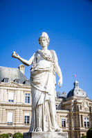 Luxembourg Palace and Statue of Minerva, Paris