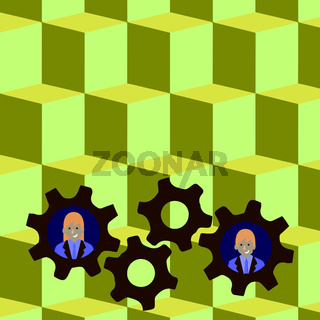 Illustration of Two Business People Each Inside Colorful Cog Wheel Gears photo. Creative Background Idea for Team Building, Collaboration Events and Quality Performance Report.