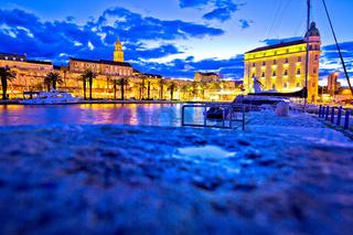 Split waterfront landmarks evening view