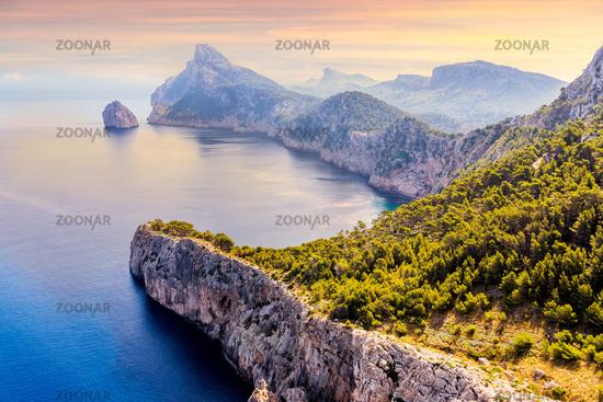 Viewpoint at the Mirador Es Colomer overseeing Formentor peninsula, beautiful sunset, Mallorca