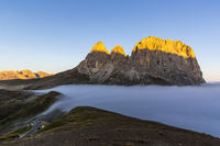 Cloud sea at Sella mountain pass between the provinces of Trentino and South Tyrol, Dolomites