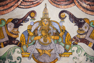 Nayaka painting of Gajalakshmi on the inside wall of the cloister mandappa. Brihadishvara Temple, Thanjavur, Tamil Nadu