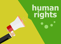 human rights. Hand holding a megaphone. flat style